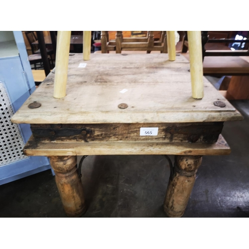 565 - Small unwaxed mexican pine side table...