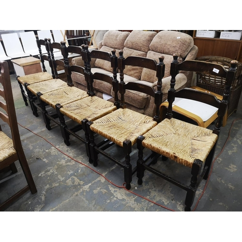 569 - Six late victorian woven seat dining chairs...