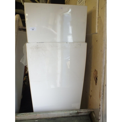 14 - Two white square metal planters approx 3' tall...