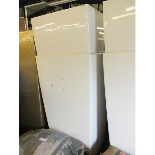 20 - Two white square metal planters approx 3' tall...