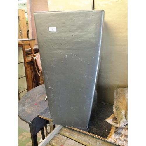22 - Square metallic planter approx. 3' tall...