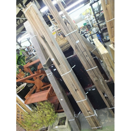 29 - Two white square metal planters approx 3' tall...