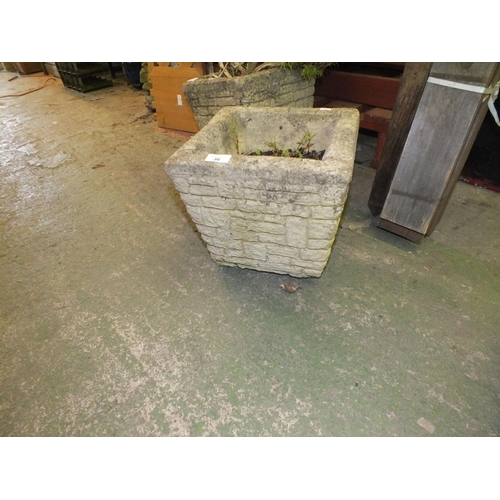 36 - Small stoneware planter approx 1' square...