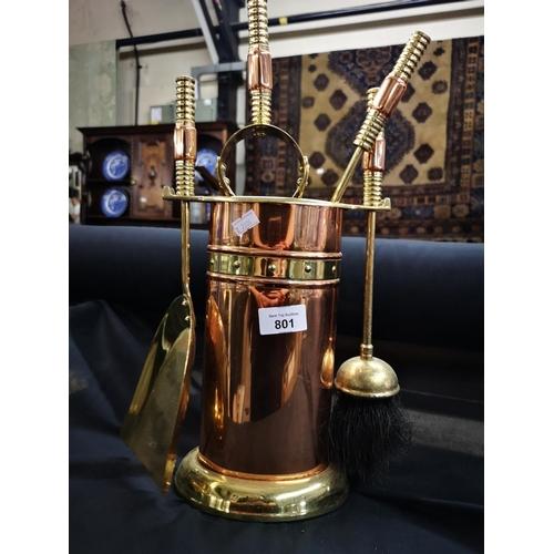 801 - Brass and copper fire side companion set...