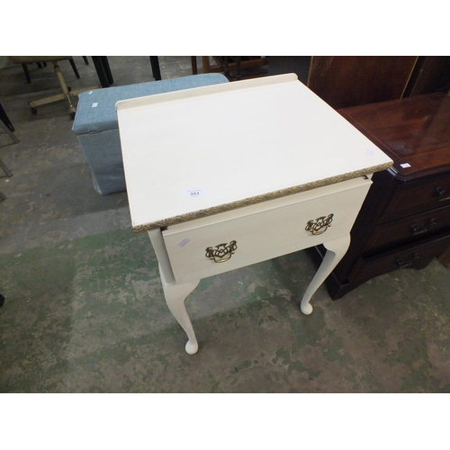 351 - White painted single draw bedroom table...