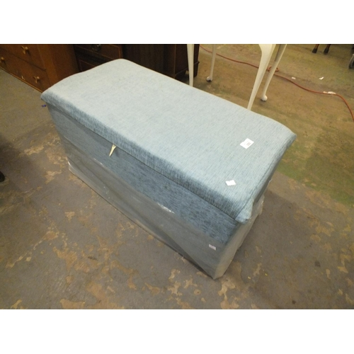 355 - Blue fabric covered ottoman, recently re-upholstered....