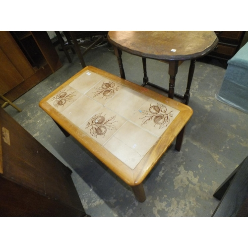 360 - 1070's beech tile topped coffee table...