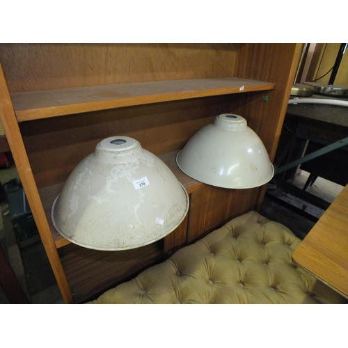 370 - Two industrial style cream metal lamp shades....