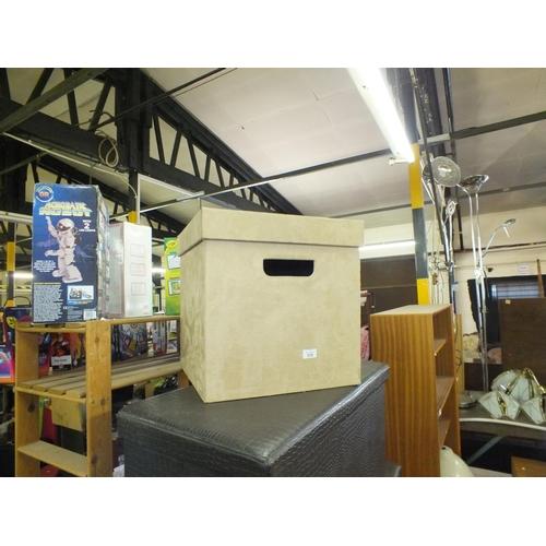 375 - Beige suede storage box...