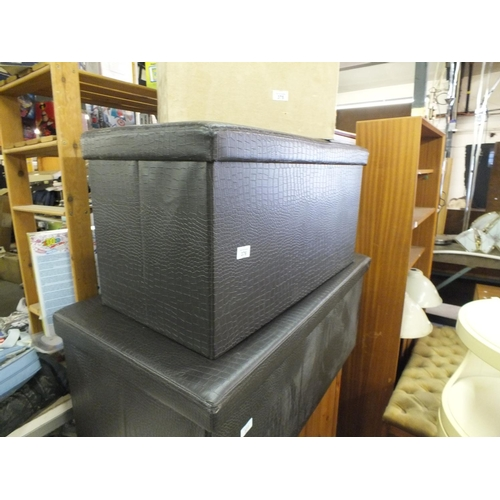 376 - Medium faux crocodile skin black storage box...