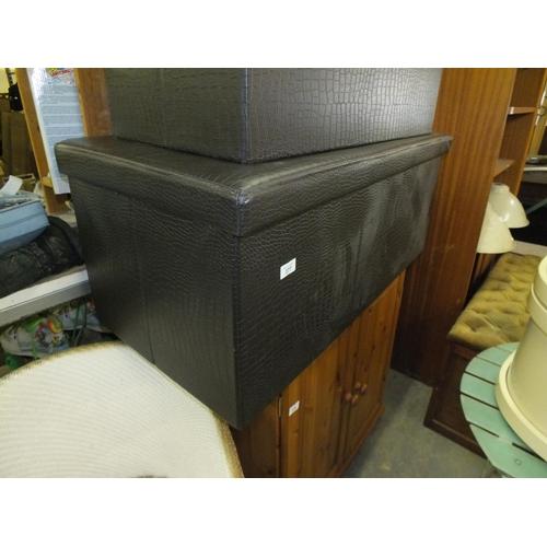 377 - Large faux crocodile skin black storage box...