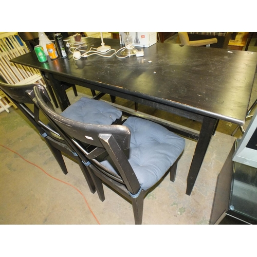 383 - Black ash drop leaf dining table and three chairs...