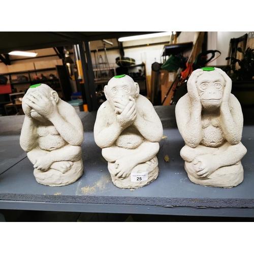 25 - Concrete Chimpanzees 'Hear/See/Speak No Evil' set of three...