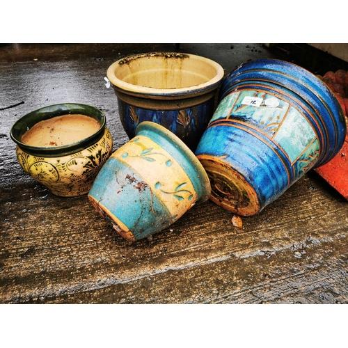 12 - 4 ceramic garden planters...