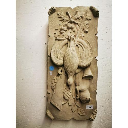 29 - Hunters gun and game wall plaque Concrete garden ornament...