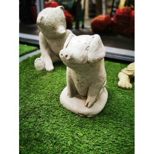 35 - Concrete pig garden ornament...