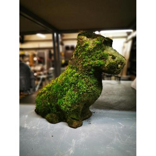 42 - Weathered stone dog garden ornamenmt...