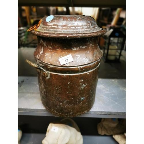 43 - Antique copper churn...