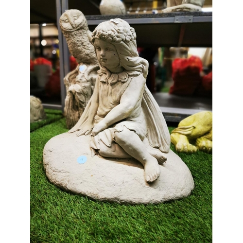 49 - Large fairy concrete garden ornament approx 18'' tall...