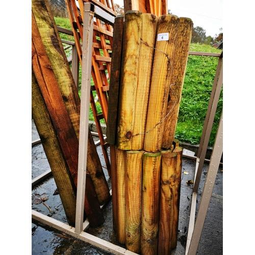 6 - Two rolls of wooden garden edging approx 18'' tall...