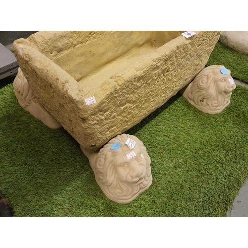 56A - Four Concrete garden ornament lion trough rests...