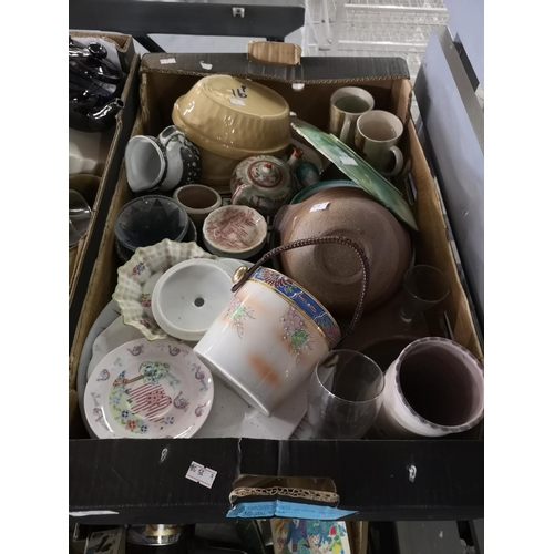 513 - Box of ceramics including plates, oven dishes etc....