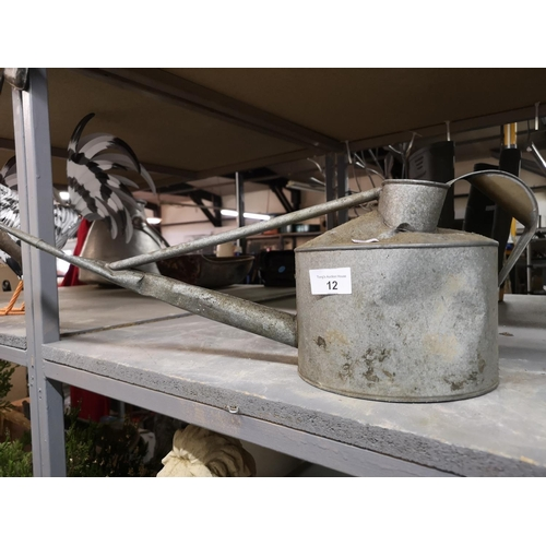 12 - Vintage galvanised watering can...