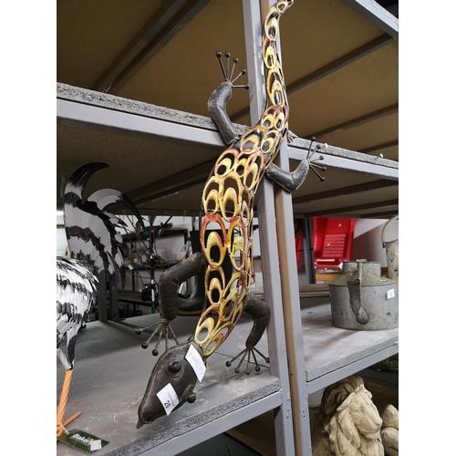20 - Metal lizard wall ornament approx 3' long...