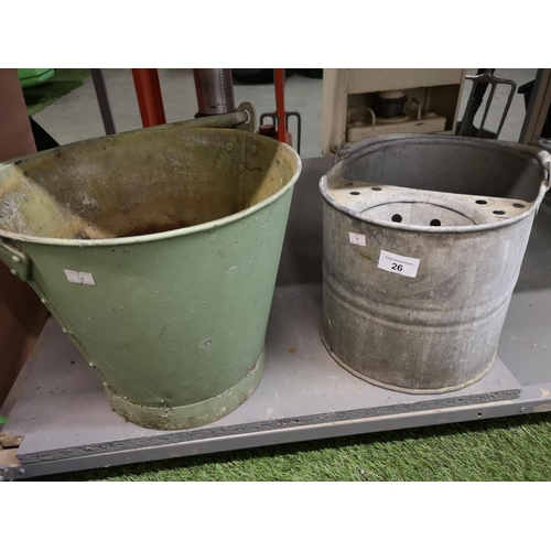 26 - Galvanised mop bucket and galvanised bucket...