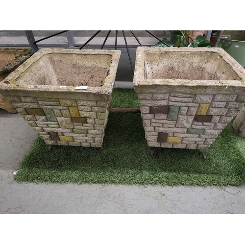 29 - Pair of large square stoneware planters...