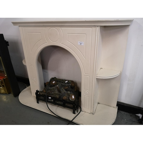 37 - Small fire surround with electric fire...