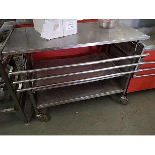 48 - S/Steel table on wheels 940 X 690...