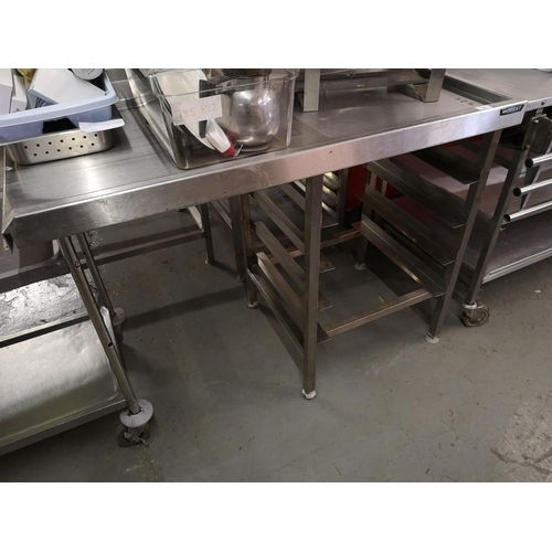51 - Moffat s/steel table with racking...