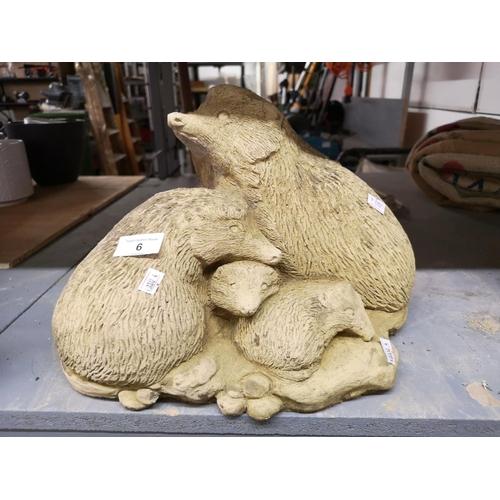 6 - Hedgehog family concrete garden ornament...