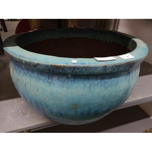 7 - Large green/blue glazed ceramic planter...