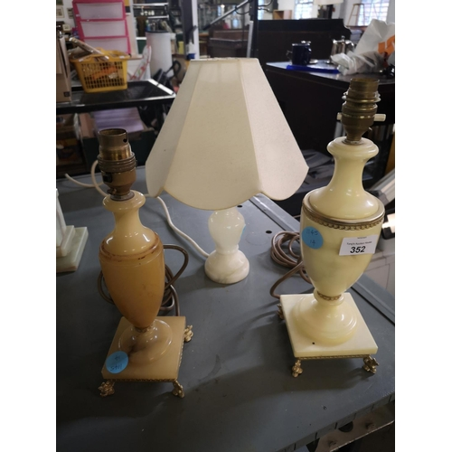 352 - Three Marble lamps...
