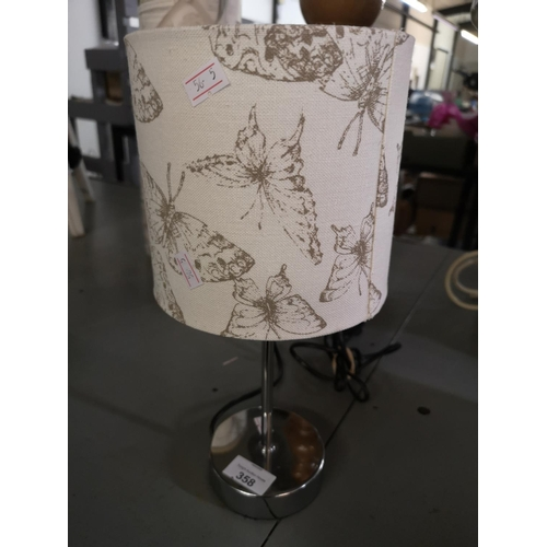 358 - Butterfly lampshade and lamp...