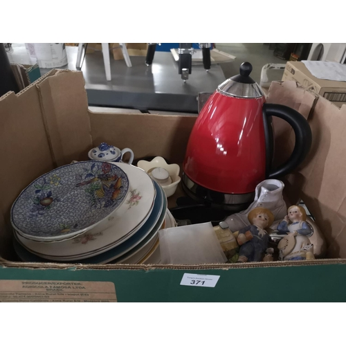 371 - Box of kitchen items including plates and cordless kettle...