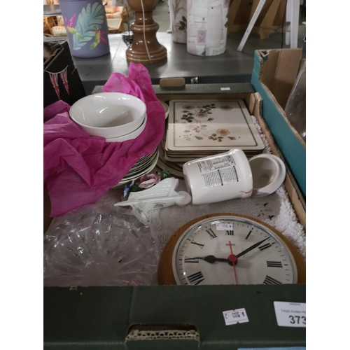 373 - Box of plates and clock...