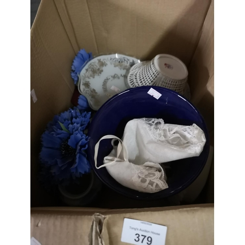 379 - Box of miscellaneous including vases...