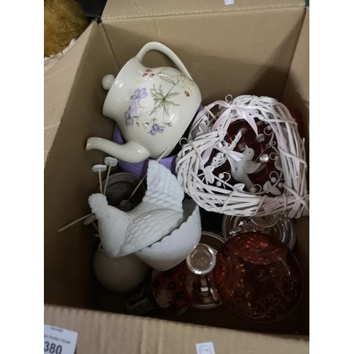 380 - Box of household items including egg pot, teapot, and decor...