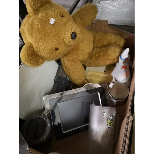 381 - Vintage teddy bear and miscellaneous house items...