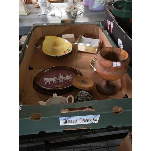 383 - Box of assorted items including Carltonware dish, clocks...