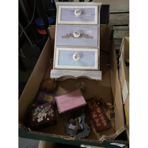 389 - Collection of items including tins, small chest of drawers etc...