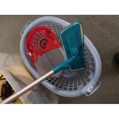 399 - Laundry basket and mop and bucket...