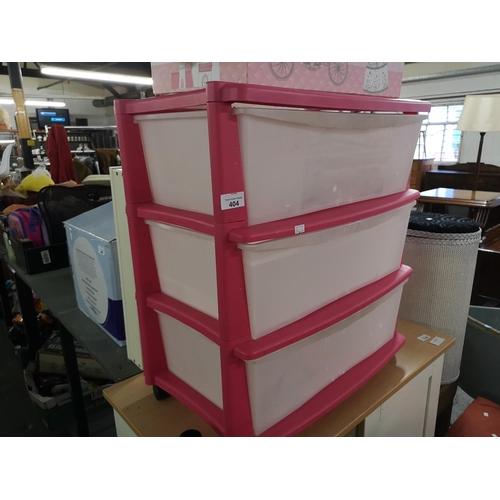 404 - Set of pink plastic drawers...
