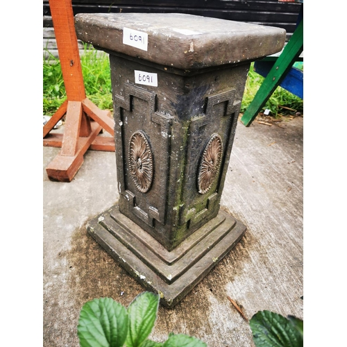 28 - Concrete plant stand, 58  cm x 25 cm x 25 cm....