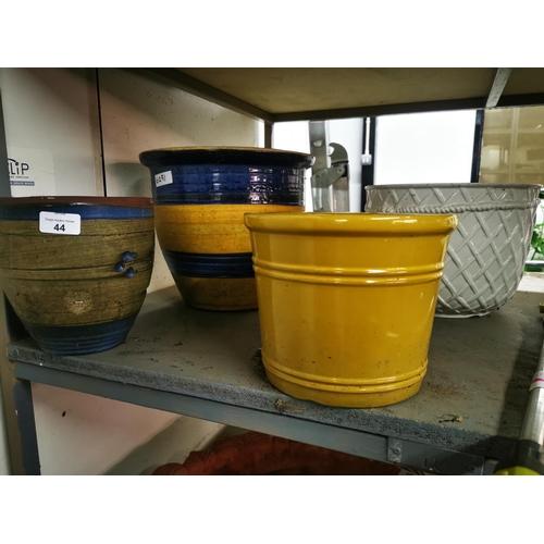 44 - 4 Ceramic Glazed planters tallest one 28 cm...