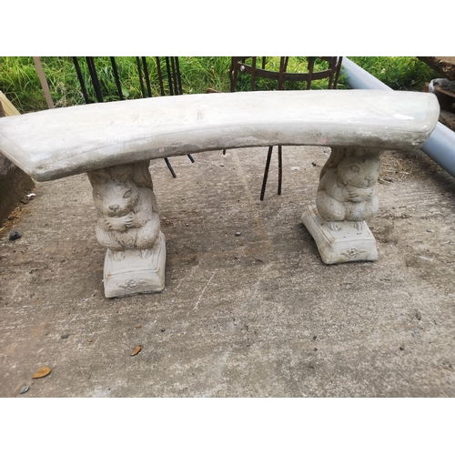 25 - Curved concrete garden bench on squirrel plinths app 4' long...