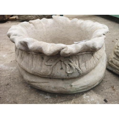 32 - Large concrete sack planter...